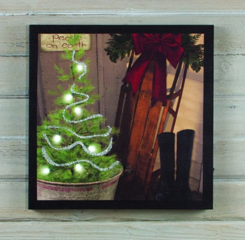 The Old Porch Sled Lighted Canvas Print
