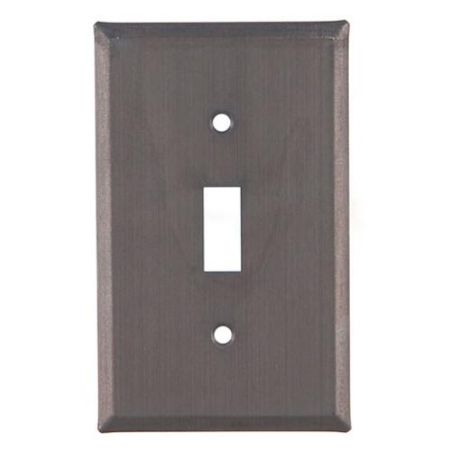 Blackened Tin Unpierced Single Switch Plate Cover
