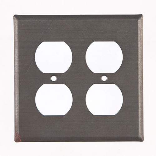 Blackened Tin Unpierced Double Outlet Cover