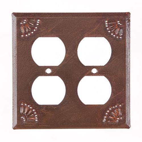 Rustic Tin Double Outlet Cover Chisel Design