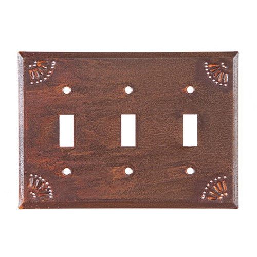 Rustic Tin Triple Switch Cover with Chisel Design