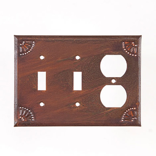 Rustic Tin Double Switch And Outlet Cover with Chisel Design