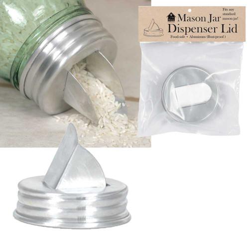 Mason Jar Aluminum Grain Dispenser Lid