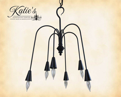 Beacon Falls 6 Arm Chandelier Finished In Aged Black, Handcrafted In The USA by Katie's Handcrafted Lighting