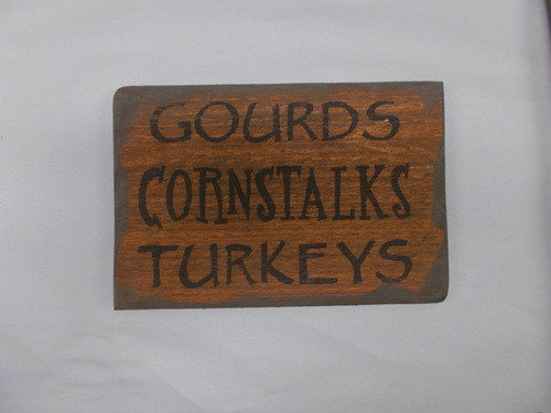 Gourds Turkeys Cornstalks Wooden Sign