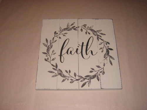 Faith Sculpted Wood Sign