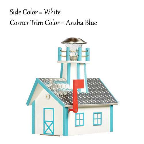 Amish Made Lighthouse Mailbox in Aruba Blue & White