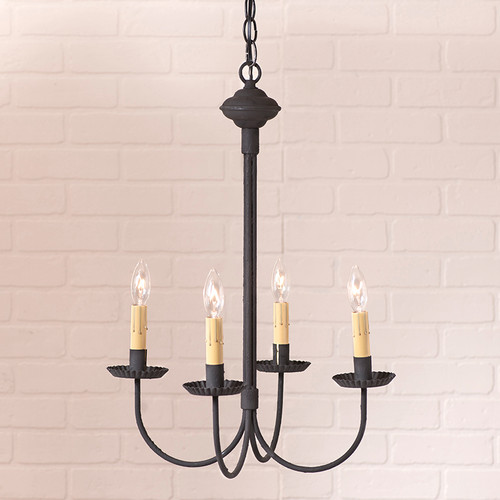 Irvins Tinware 4 Arm Grandview Metal Chandelier Finished In textured Black With Ecru Sleeves.
