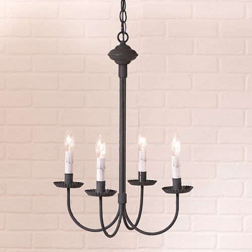 Irvins Tinware 4 Arm Grandview Metal Chandelier Finished In textured Black With Gray Sleeves.
