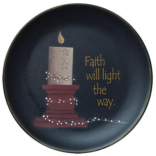 Faith Will Light Wooden Plate