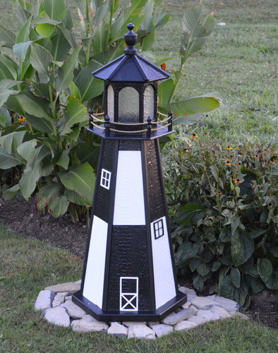 Amish Made Wood Garden Lighthouse - Cape Henry - Shown In 4 Foot Model With Standard Electric Lighting