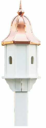 Amish handcrafted poly birdhouse with copper roof.