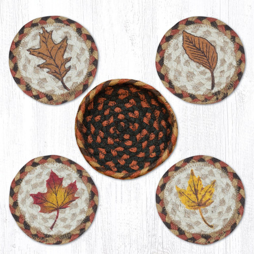 Fall Harvest Leaf Coasters In A Basket