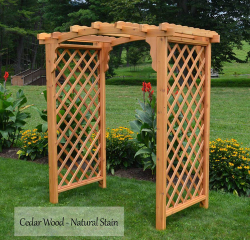 Amish Handcrafted Lexington Cedar Wood Arbor - Natural Stain