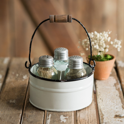 White Bucket Salt, Pepper, and Toothpick Caddy