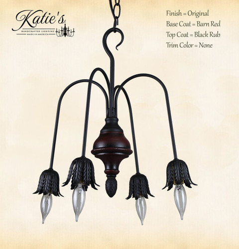 Beacon Falls Wood 4 Arm Chandelier Finished In Barn Red, Black Rub, Handcrafted In The USA by Katie's Handcrafted Lighting