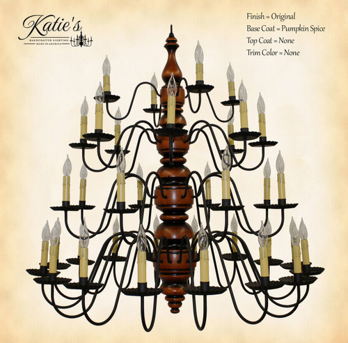 Katie's Handcrafted Lighting Kingston 4-Tier Chandelier Pictured In: Original Finish, Base Coat Color = Pumpkin Spice, Top Coat Color = None, Trim Color = None