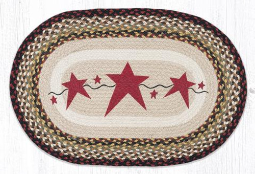 Primitive Stars Burgundy Oval Rug