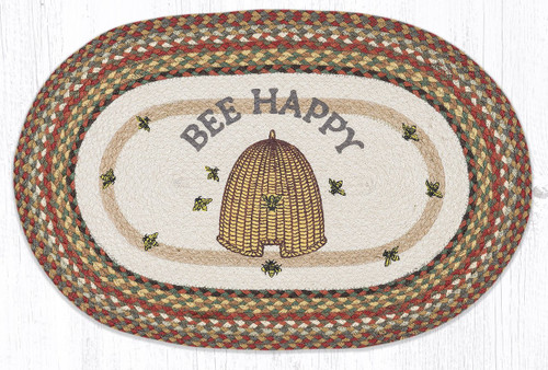 Bee Happy Oval Patch Rug