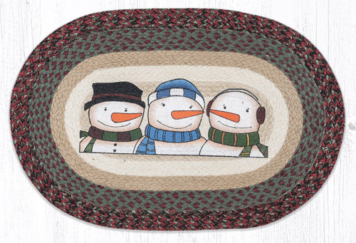 Three Snowmen Oval Patch Rug
