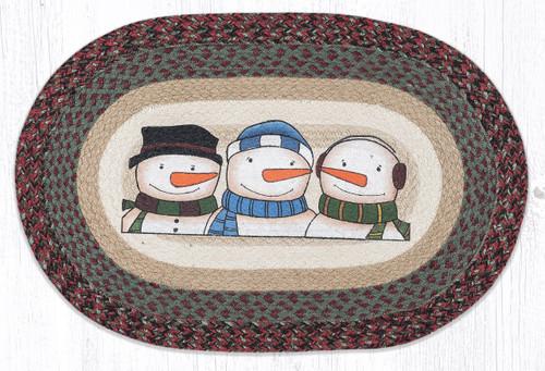 Three Snowmen Oval Patch Rug