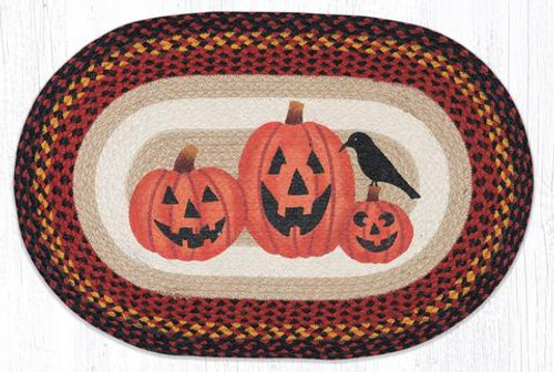 Three Jack-O-Lanterns Oval Patch Rug