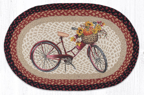 Red Bicycle Oval Patch Rug