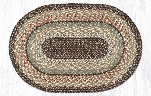 Earth Rugs™ oval craft-spun braided jute rug in pictured in: Sandstone & Sage - C9-099