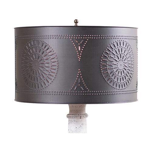 Irvin's Tinware Floor Lamp Drum Shade finished in Kettle Black