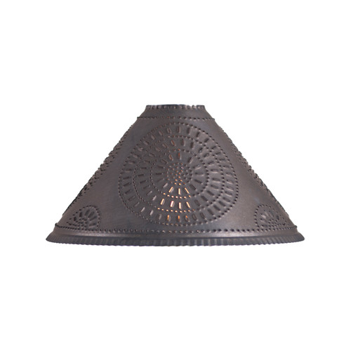 Irvin's Tinware Chisel Design Cupid Oil Lamp Shade In Kettle Black