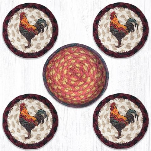 Rustic Rooster Coaster Set