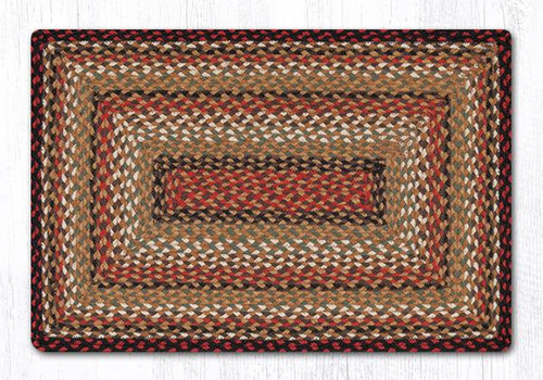 Earth Rugs™ Rectangle Braided Jute Rug Pictured In: Burgundy, Mustard, Ivory