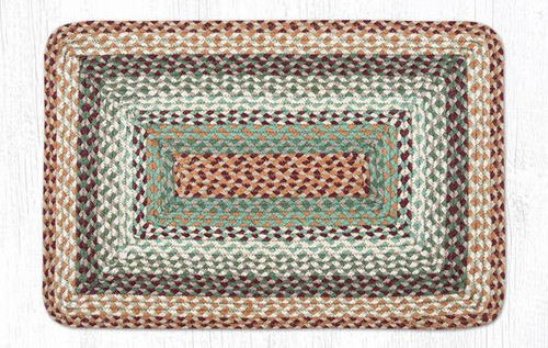Earth Rugs™ Rectangle Braided Jute Rug Pictured In: Buttermilk, Cranberry