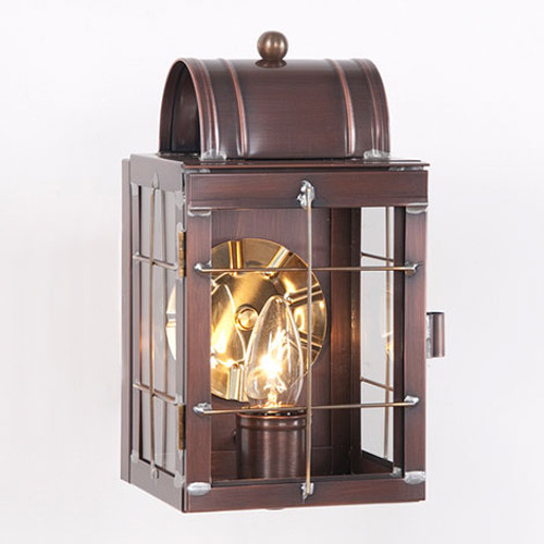 Irvin's Tinware Small Wall Outdoor Lantern Finished In Antique Copper