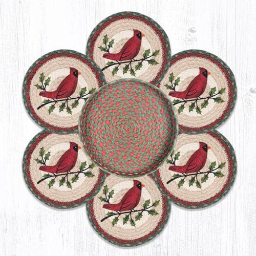 Holly Cardinal Trivets In Basket