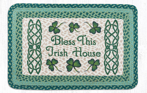 Earth Rugs™ Rectangle Braided Jute Rug - Bless This Irish House - PP-116