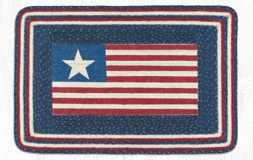Earth Rugs™ Rectangle Braided Jute Rug - Americana Flag - PP-565
