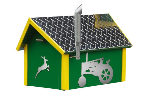 Amish handcrafted John Deere tractor poly mailbox
