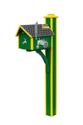 Amish handcrafted poly mailbox post in John Deere green