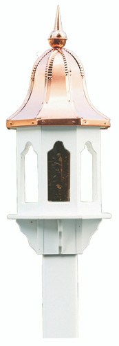 Amish handcrafted poly bird feeder with copper roof.