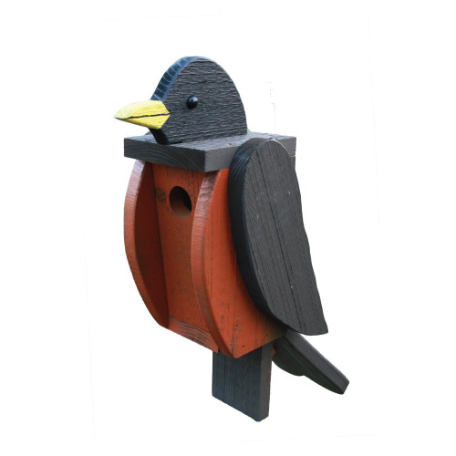 Amish handcrafted wooden birdhouse - robin