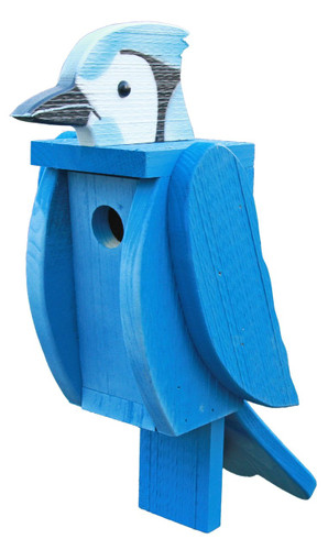 Amish handcrafted wooden birdhouse - blue jay