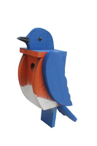Amish handcrafted wooden birdhouse - bluebird
