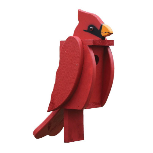 Amish handcrafted wooden birdhouse - cardinal