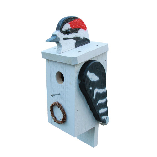 Amish handcrafted wooden birdhouse - woodpecker