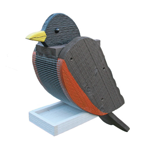 Amish handcrafted wooden bird feeder - robin