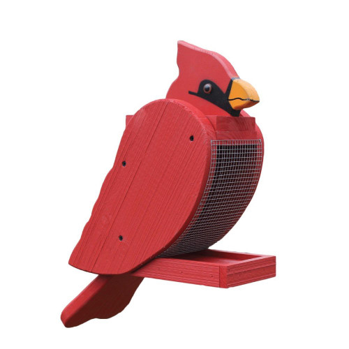 Amish handcrafted wooden bird feeder - cardinal
