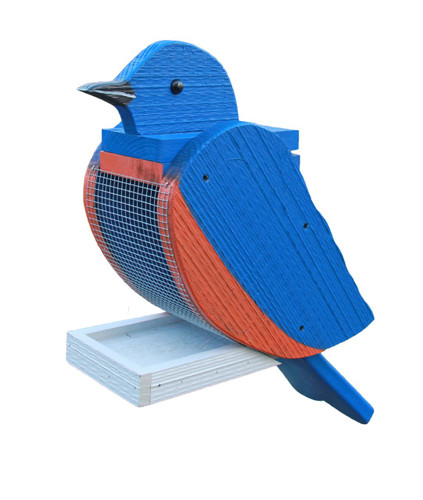 Amish handcrafted wooden bird feeder - bluebird