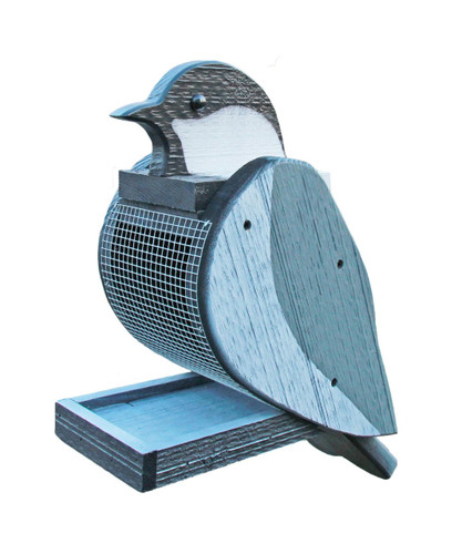 Amish handcrafted wooden bird feeder - chickadee