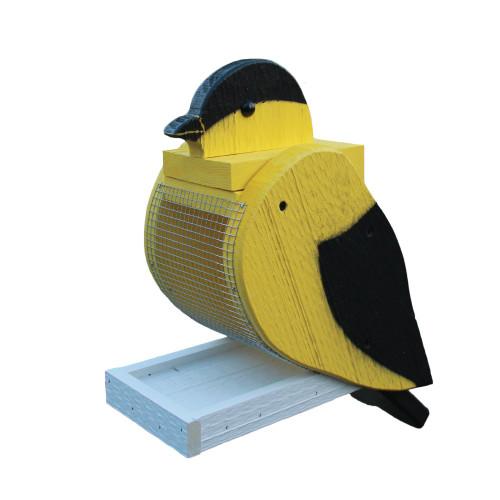 Amish handcrafted wooden bird feeder - Goldfinch